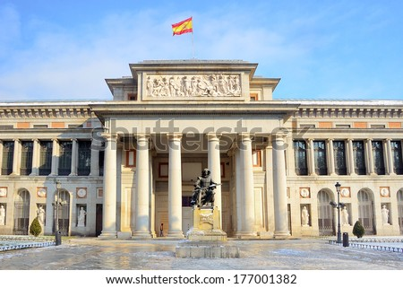 MADRID, SPAIN - JAN 11: View of The Museo del Prado in a snowy day, on January 11, 2010. Madrid, Spain - stock photo