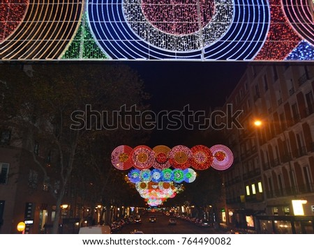 Madrid- Spain2017  17January Christmas lights in the rood