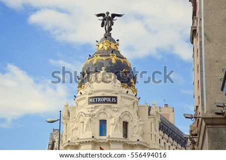 MADRID, SPAIN - JANUARY 15: Metropoli building on January 15, 2016 in Madrid, Spain.