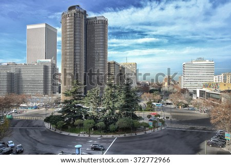 MADRID, SPAIN - January 27, 2016: Modern building in the Paseo de la Castellana with the KPMG Towers in the city center of Madrid on January 27 2016 in Spain..