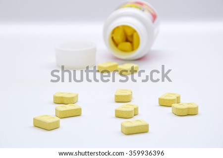 MADRID, SPAIN JANUARY 9: Tablets chewable vitamins for children on January 9, 2016 in Madrid, Spain.