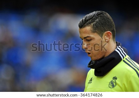 MADRID, SPAIN - January 17th, 2016 :  portrait of Portuguese CRISTIANO RONALDO of REAL MADRID  during warm up of Spain La Liga match vs SPORTING GIJON at Santiago Bernabeu Stadium