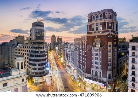 Madrid, Spain - July 26, 2016: Gran Via with the Schweppes sign at sunset