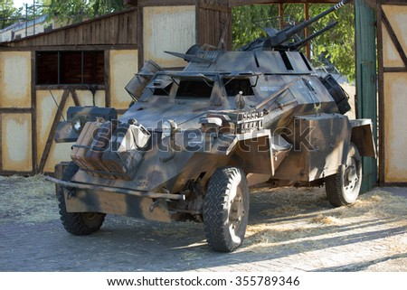MADRID, SPAIN - JUNE 29, 2013: Armored reconnaissance vehicle Sdkfz 222 during historical military reenactment of WWII in the street of MADRID.  - stock photo