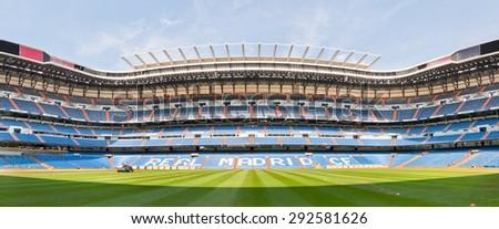 MADRID, SPAIN - JUNE 20, 2012: Panoramic view of empty Santiago Bernabeu stadium, where Real Madrid football team plays. Madrid, Spain. - stock photo