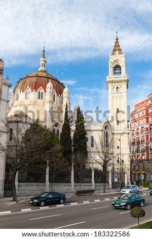 MADRID, SPAIN - MAR 23, 2014: Architecture of Madrid, Spain. Madrid is the second most touristic place in Spain after Barcelona