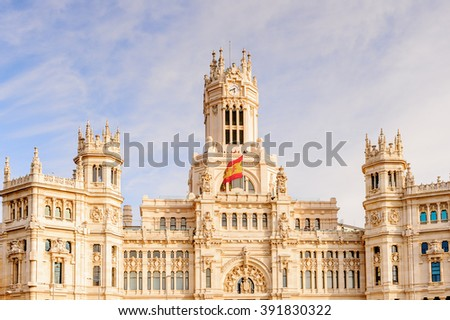 MADRID, SPAIN - MAR 23, 2014: Cibeles Palace (Palacio de Cibeles), Madrid, Spain. was It was home to the Postal and Telegraphic Museum until 2007. Spanish Property of Cultural Interest