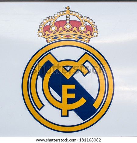 MADRID, SPAIN - MAR 11, 2014: Real Madrid sign of the Santiago Bernabeu stadium. Santiago Bernabeu is a home arena for the Real Madrid Club de Futbol - stock photo