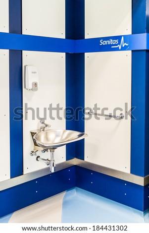 MADRID, SPAIN - MAR 11, 2014: Shower room of the Santiago Bernabeu stadium. Santiago Bernabeu is a home arena for the Real Madrid Club de Futbol - stock photo