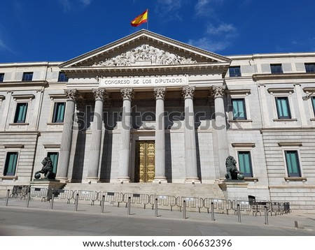 Madrid, Spain - March 2017: Palacio de las Cortes or Palace of the Parliament building where the Spanish Congress of Deputies (diputados) meet