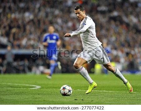 MADRID, SPAIN - March 10th, 2015 :  Portuguese CRISTIANO RONALDO of REAL MADRID in action during Europe Champions League match vs SHALKE 04 at Santiago Bernabeu Stadium.  - stock photo