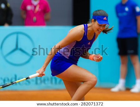 MADRID, SPAIN - MAY 6 :  Ana Ivanovic in action at the 2015 Mutua Madrid Open WTA Premier Mandatory tennis tournament - stock photo