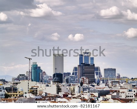 MADRID, SPAIN - MAY 20: Financial sector on 20, 2011 in Madrid, Spain. In 1954 Antonio Perpina organized a financial sector based on the Rockefeller Centre, now the skyscrapers have expanded by north - stock photo