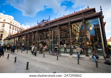 Madrid, Spain - May 6, 2012: Local peoples and tourists in front of San Miguel Market (Mercado San Miguel) on city centre of Madrid, Spain