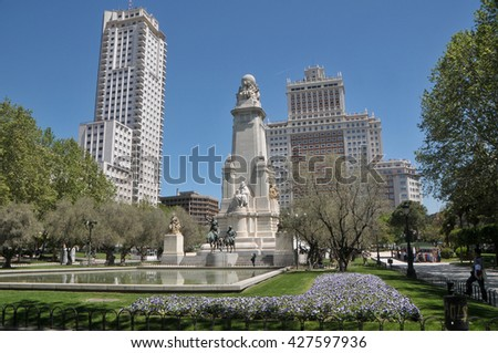 MADRID, SPAIN - MAY 10, 2012: Plaza de Espana and Cervantes monument, in Madrid, Spain