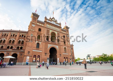 Madrid, Spain - May 11, 2012: Plaza de Toros de Las Ventas with tourists gathering for the bull show in Madrid, Spain - stock photo