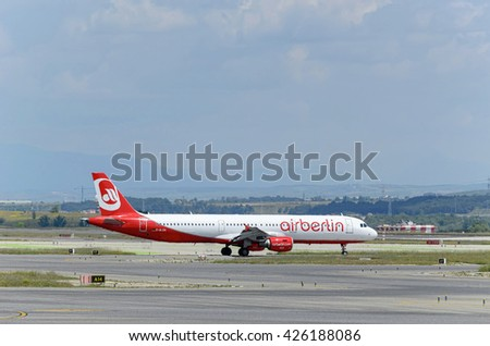 MADRID, SPAIN - MAY 15th 2016: Airliner -Airbus A321-, of -Air Berlin- airline, is ready to take off from Madrid-Barajas -Adolfo Suarez- airport, on May 15th 2016. - stock photo