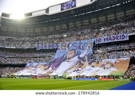MADRID, SPAIN - May 13th, 2015 :  Huge tifo with portrait sketch of ALFREDO Di STEFANO former star of REAL MADRID  at the stands of Santiago Bernabeu stadium during UEFA Champions League - stock photo