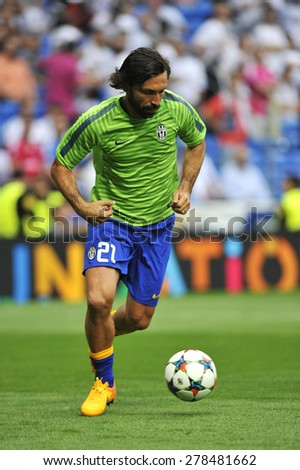 MADRID, SPAIN - May 13th, 2015 :  Italian player ANDREA PIRLO of JUVENTUS TORINO in action during warm up Europe Champions League match VS REAL MADRID at Santiago Bernabeu Stadium - stock photo