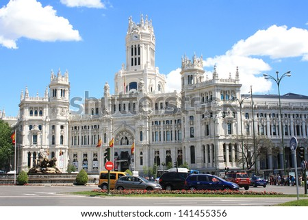 MADRID, SPAIN - MAY 10: The building of the Main Post Office on the Plaza Cibeles May 10, 2013, in Madrid, Spain. The building is designed by the Otamendi and Palasmosa in 1919 .