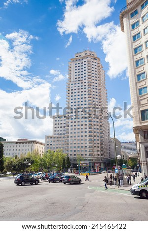 Madrid, Spain - May 6, 2012: Torre de Madrid building on a sunny spring day in Madrid, Spain.