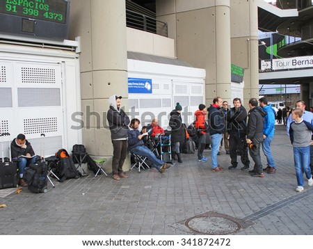 MADRID, SPAIN - NOVEMBER 21: Press people waiting to enter the Santiago Bernabeu Stadium in the football match Real Madrid - Barcelona on November 21, 2015 in Madrid, Spain.