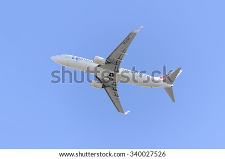 MADRID, SPAIN - NOVEMBER 14th 2015: Aircraft -Boeing 737-85P-, of -Air Europa- airline, is taking off from Madrid-Barajas -Adolfo Suarez- airport, on November 14th 2015.