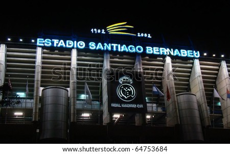 MADRID, SPAIN - NOVEMBER 7: The Santiago Bernabeu Stadium, home of the Real Madrid professional football team. Picture taken after the Liga game against Atletico Madrid on November 7, 2010. - stock photo