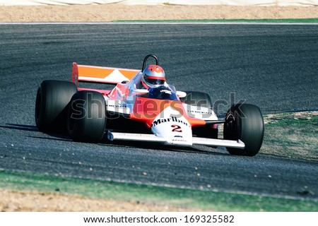 MADRID, SPAIN - OCT 30 : British driver Bobby Verdon-Roe races in a McLaren MP4 1B during the Jarama Vintage Festival, on Oct 30, 2011 in Madrid, Spain. - stock photo