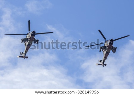 MADRID-SPAIN - OCTOBER 12: Eurocopter Tiger during Air Parade in National Feast acts on October 12, 2015 in Madrid,Spain.