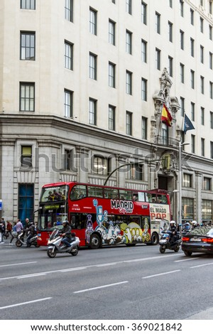 MADRID, SPAIN - OCTOBER 10, 2015: View from the commercial Street Gran Via full of people