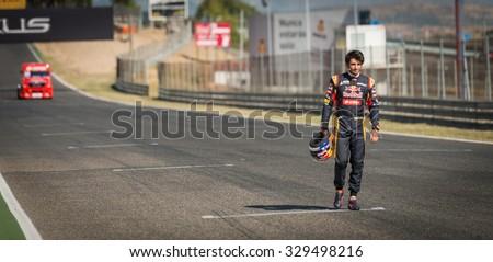 MADRID, SPAIN - OCTOBER 3 2015. XXIX European Truck racing Championship, Jarama circuit. Formula I pilot Carlos Sainz. - stock photo