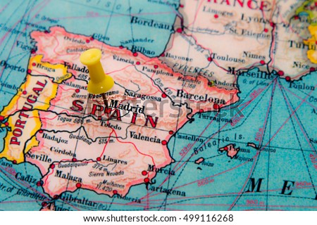 Madrid spain pinned on vintage map stock photo edit now shutterstock madrid spain pinned on vintage map of europe publicscrutiny Image collections
