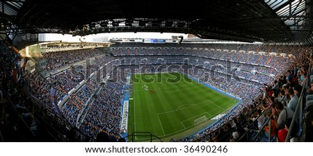 MADRID, SPAIN - Sept 7:  Santiago Bernabeu Stadium, Madrid, Real Madrid  game September 7, 2005 - stock photo