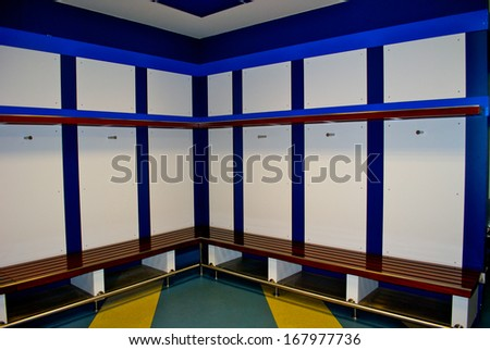 MADRID, SPAIN - SEPTEMBER, 2012: Real Madrid CF dressing room on the Santiago Bernabeu stadium in Madrid, Sept. 20, 2012. It's a home arena for the Real Madrid CF. - stock photo