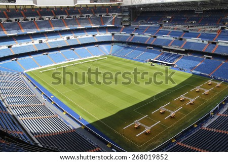 MADRID, SPAIN - SEPTEMBER 18, 2014: Santiago Bernabeu - home stadium of the royal club Real Madrid (without advert) - stock photo