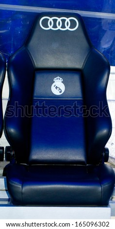 MADRID, SPAIN - SEPTEMBER, 2012: Seats for the Real Madrid reserve players on the Santiago Bernabeu stadium in Madrid, Sept. 20, 2012. It's a home arena for the Real Madrid CF. - stock photo