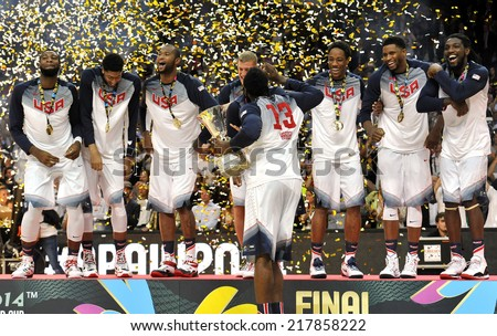MADRID, SPAIN - September 14th 2014 :  USA team celebrates Gold Medal at the podium after defeating Serbia in Final game of FIBA BASKETBALL WORLD CUP 2014 at Palacio de los Deportes Arena - stock photo