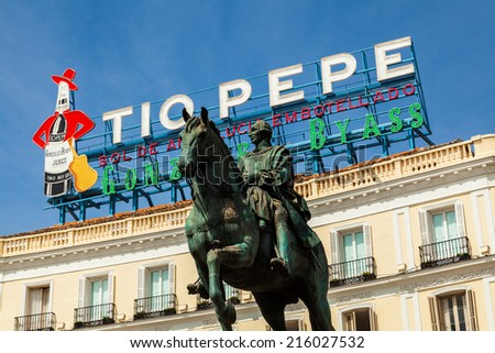 MADRID, SPAIN- SEPTEMBER 7: The Iconic Tio Pepe sign (1935) of Gonzalez Byass Winery in its new emplacement in La Puerta del Sol square on September 7, 2014 in Madrid, Spain - stock photo