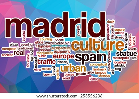 Madrid word cloud concept with abstract background - stock photo