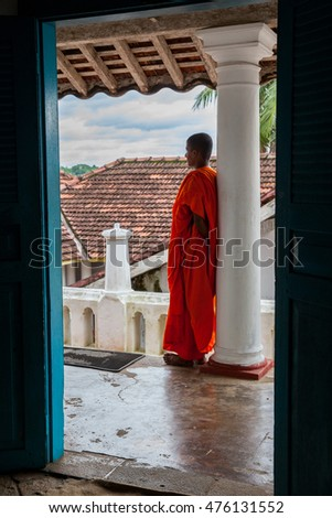Madu Ganga - November 14 : Buddhist monk in monastery at river on November 14, 2015 in Madu Ganga, Sri Lanka