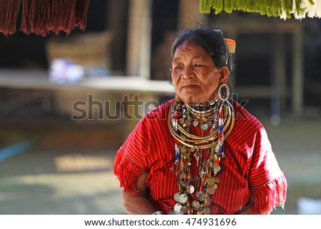 MAE HONG SON, THAILAND - JAN 8: Unidentified old woman of the big-ear Karen near Karen Long Neck hill tribe village, January 8, 2009 in Mae Hong Son, Thailand.