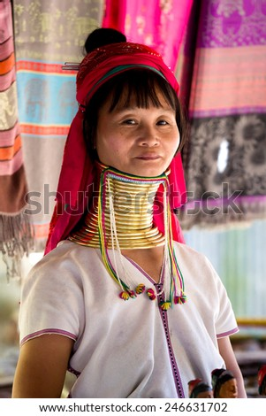 MAE HONG SON,THAILAND-JANUARY 1 2015:Long necked woman in small village at north of Thailand.Her neck put on a lot of brass ring.