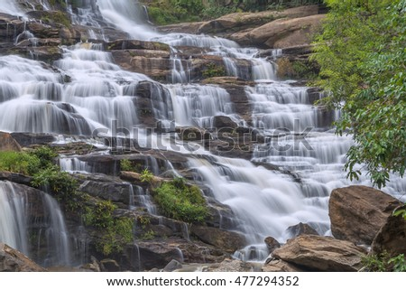 Mae Ya Waterfall in Rain Forest at Doi Inthanon National Park in Chiang Mai ,Thailand