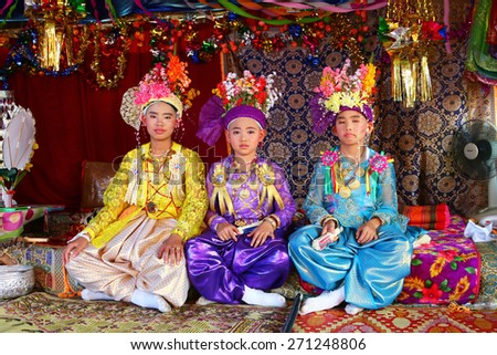 MAEHONGSON, THAILAND-APRIL 03: Poy Sang Long Ethnic buddhist ordination festival, during in parade around township on April 03, 2015 in Mae Hong Son Province,  - stock photo