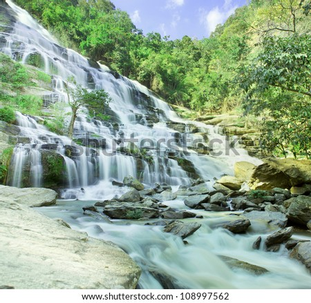 Maeyar waterfall ,Chiangmai ,Thailand in rain season view - stock photo