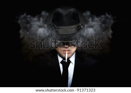 Mafia guy smoking