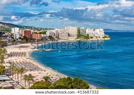 Magaluf Beach and Bay, Calvia, Mallorca, Balearics, Spain - stock photo