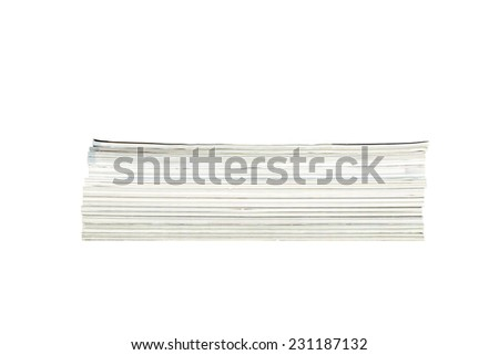 Magazine and newspaper. Close up stack of magazines isolated on white background