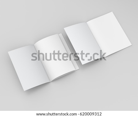 Magazine Brochure Mockup Template 3 D Rendering Stock Illustration